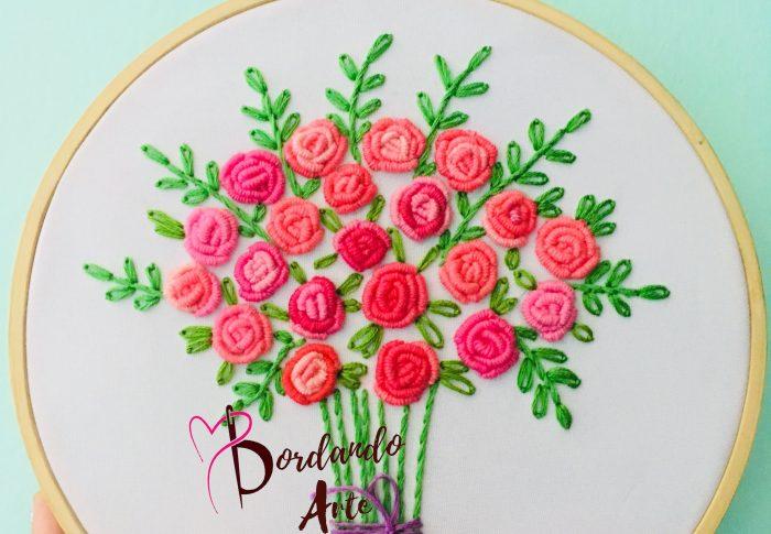 Punto rococo bordar ramo de flores paso a paso