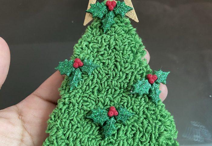 Bordar con aguja mágica pino de Navidad | Colgante Punch Needle