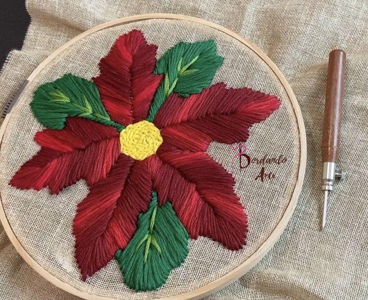 Bordar con aguja mágica una flor de Nochebuena Punch Needle
