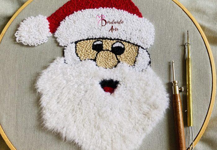 Bordar Santa Claus con aguja mágica o aguja maravillosa con efecto peinado