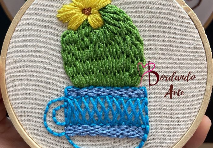 Como bordar cactus con aguja magica | Embroidery punch needle